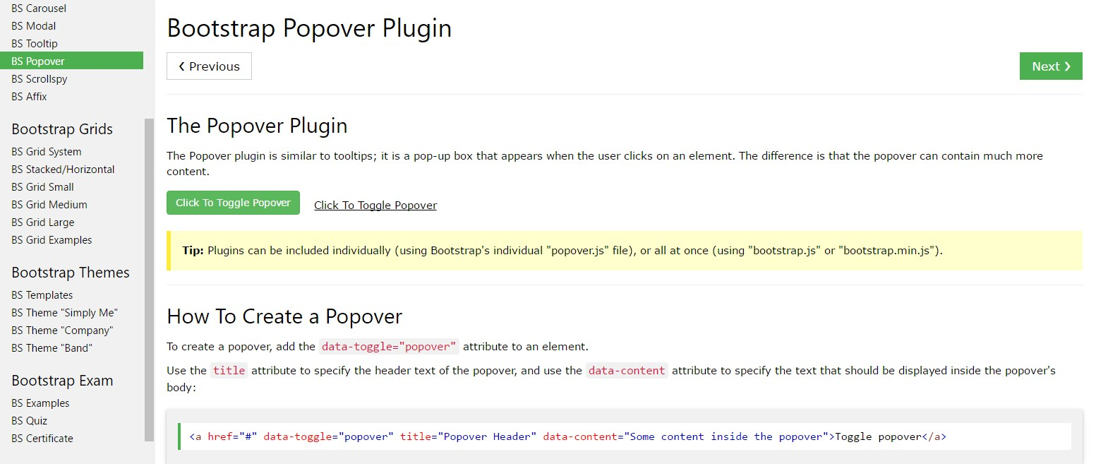 Bootstrap popovers  article