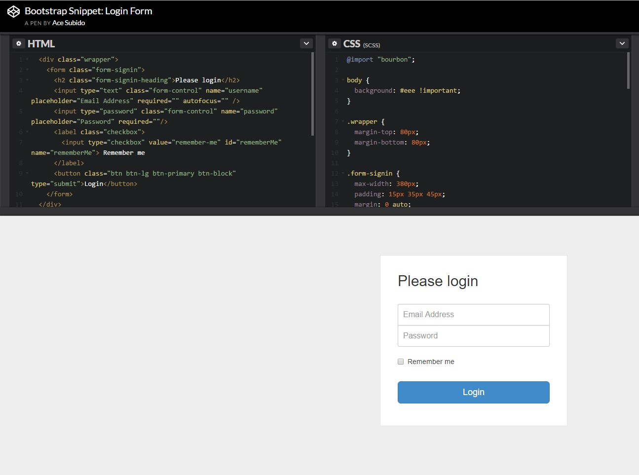Other  representation of Bootstrap Login Form